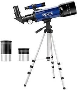 Telescopio Emarth, telescopio de viaje, telescopio de referencia astronómico de 70 mm con trípode y buscador, P